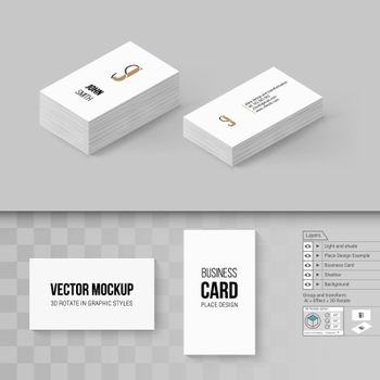 Wite Business Cards Template. Branding Mock Up with 3D Rotate Options