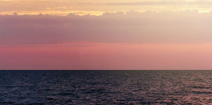 beautiful sea with warm sunrise light