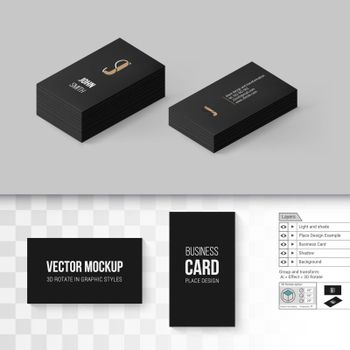 Black Business Cards Template. Branding Mock Up with 3D Rotate Options