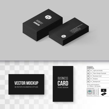 Black Business Cards Template. Branding Mock Up with 3D Rotate Options on Gray and Transparent Background