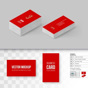 Red Business Cards Template. Branding Mock Up with 3D Rotate Options