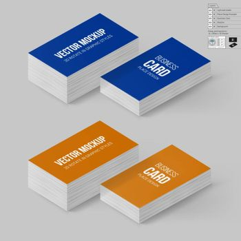 Business Cards Template in Blue and Orange Colors. Corporate Identity. Branding Mock Up with 3D Rotate Options with Shadow Effects