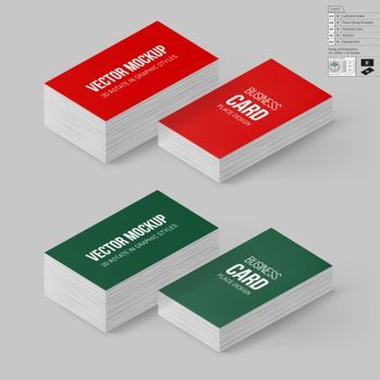 Business Cards Template in Red and Green Colors. Corporate Identity. Branding Mock Up with 3D Rotate Options with Shadow Effects