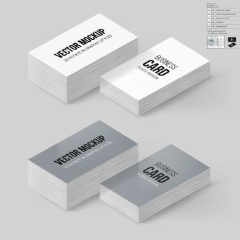 Business Cards Template in White and Gray Colors. Corporate Identity. Branding Mock Up with 3D Rotate Options with Shadow Effects