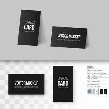 Black Business Cards Template. Corporate Identity. Branding Mock Up with 3D Rotate Options on Gray and Transparent Background