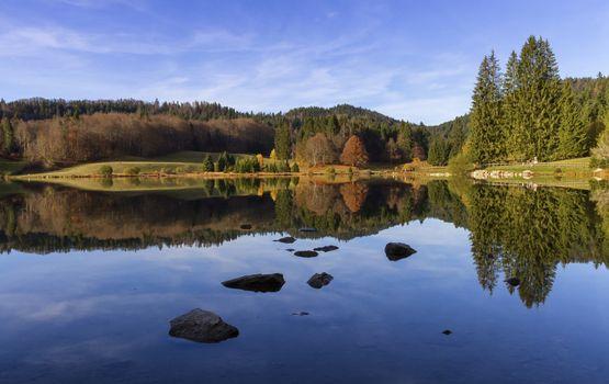 Lac Genin by beautiful autumn day, Jura, France