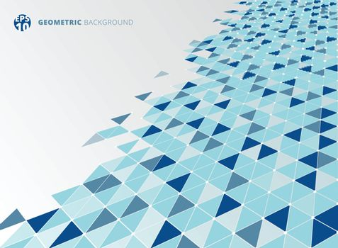 Abstract blue geometric triangle structure perspective background. Vector illustration