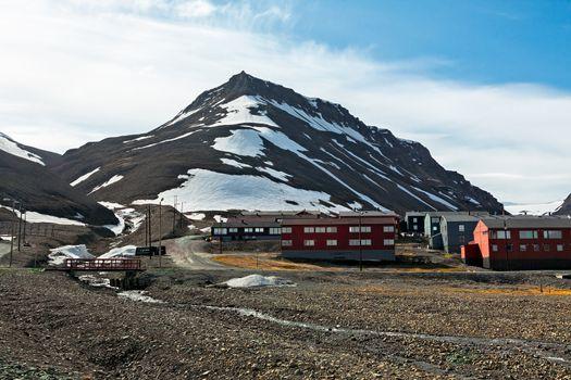 Mountain landscape in Longyearbyen in Svalbard islands, Norway