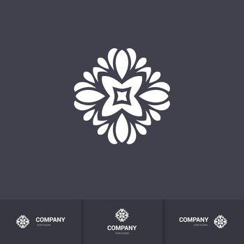 Floral Geometric Element for Circular Logo. Company Mark, Emblem, Element. Kaleidoscope Big Bud