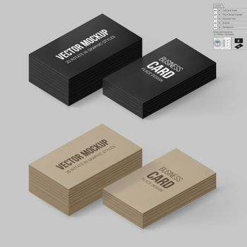Business Cards Template in Black and Brown Colors. Corporate Identity. Branding Mock Up with 3D Rotate Options with Shadow Effects