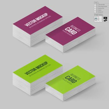 Business Cards Template in Magenta and Lime Colors. Corporate Identity. Branding Mock Up with 3D Rotate Options with Shadow Effects