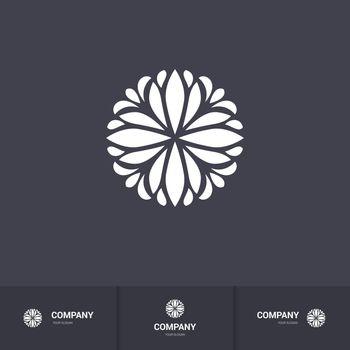 Abstract Floral Geometric Element for Circular Logo. Company Mark, Emblem, Element. Simple Geometric Mandala Logotype on Dark Background