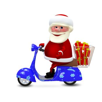 3D  Illustration Santa on the Scooter with Gifts on White Background