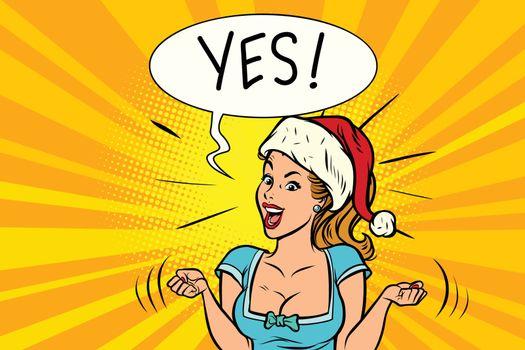 Yes joyful Santa woman