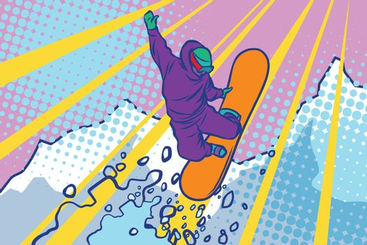 snowboarder jumping, winter sports, active lifestyle