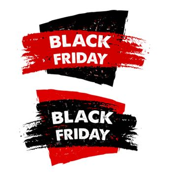 black friday, sale banners - text in red black drawn labels, business seasonal shopping concept