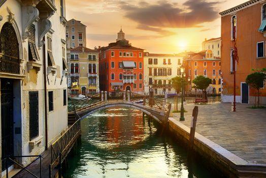 Venetian cityscape at sunrise