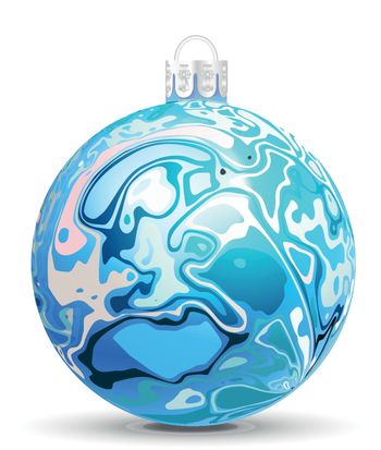 Christmas vector ball in the style of Marble Ink lines