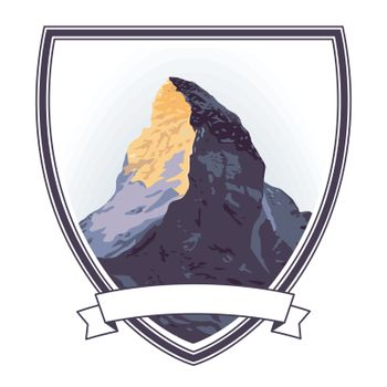 mountaintop sign, illustration isolated