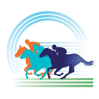 Horse Racing on the race track, equestrian sign