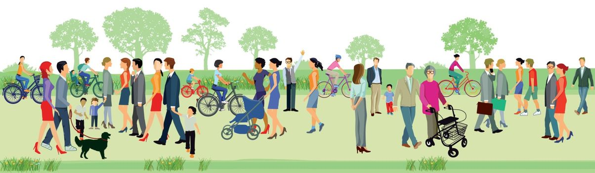 Families walk in the park, illustration