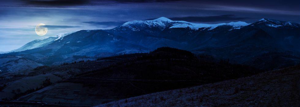 great mountain ridge Borzhava at night