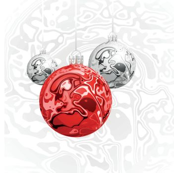 Christmas vector balls in the style of Marble Ink lines