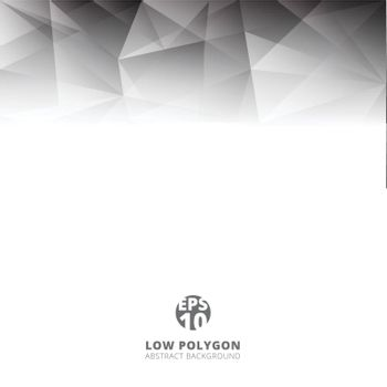 Abstract low polygon light gray color polygonal shape background with copy space. Vector illustration