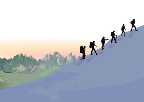 Mountain hiking in the group