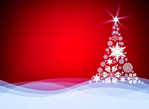 Christmas background with Christmas tree. . Christmas card template