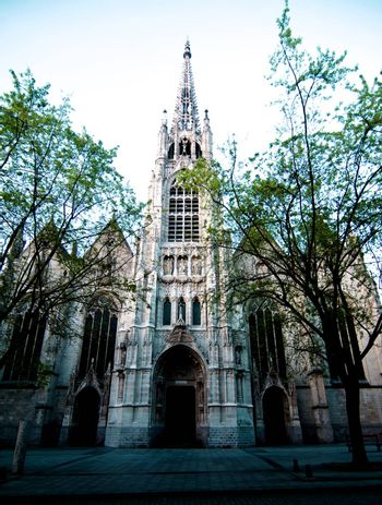 Medieval Catholic Saint-Maurice Church between Tree Branches on Sunset Outdoors. Lille, France