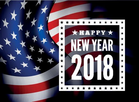 Congratulations on the new 2018 against the background of the United States flag. Vector illustration