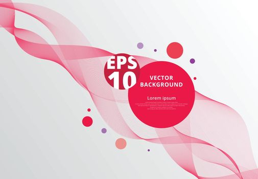 Abstract red wavy lines with circle dots. vector illustration background