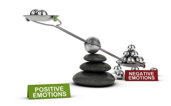 Negative VS Positive emotions, Psychology Concept.