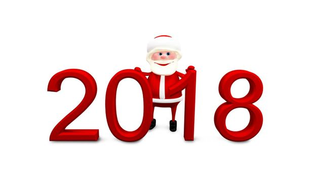 3D Illustration of Santa and Red Inscription 2018 on White Background