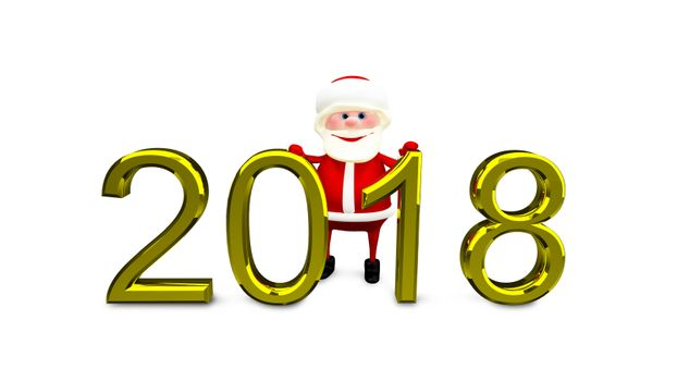 3D Illustration of Santa and Gold Inscription 2018 on White Background