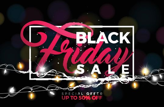 Black Friday Sale Vector Illustration with Lighting Garland on Dark Background. Promotion Design Template for Banner or Poster