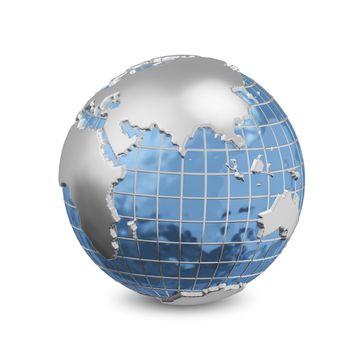 3D Illustration Metal Globe on the White Background