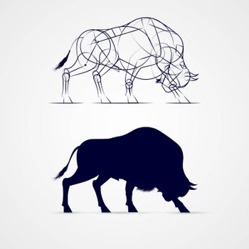 Horned Bison Silhouette with Sketch Template on Gray