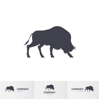 Simple Bison for Mascot Logo Template on White