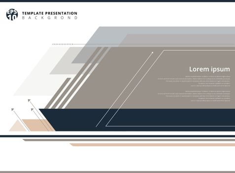 Geometric presentation template on white background with copy space smooth  technology concept. Vector illustration