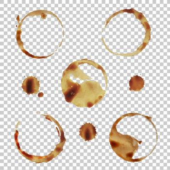 Coffee Stain Set Isolated