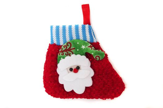 cute christmas sock with santa isolated on a white background.