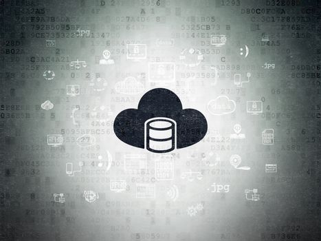 Database concept: Painted black Database With Cloud icon on Digital Data Paper background with  Hand Drawn Programming Icons