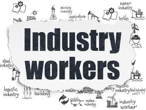 Industry concept: Painted black text Industry Workers on Torn Paper background with  Hand Drawn Industry Icons