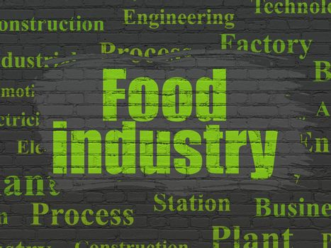 Manufacuring concept: Painted green text Food Industry on Black Brick wall background with  Tag Cloud