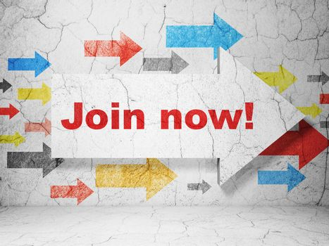 Social media concept:  arrow with Join now! on grunge textured concrete wall background, 3D rendering