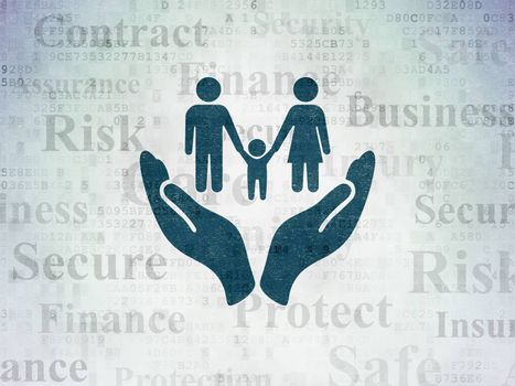 Insurance concept: Painted blue Family And Palm icon on Digital Data Paper background with  Tag Cloud