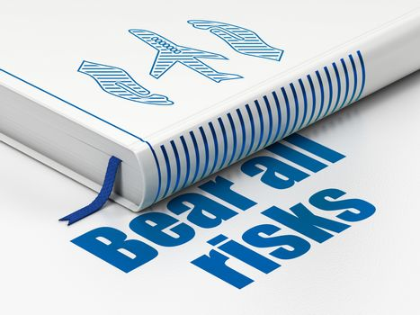 Insurance concept: closed book with Blue Airplane And Palm icon and text Bear All Risks on floor, white background, 3D rendering