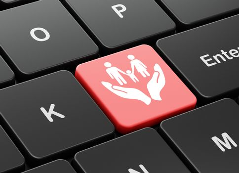 Insurance concept: computer keyboard with Family And Palm icon on enter button background, 3D rendering